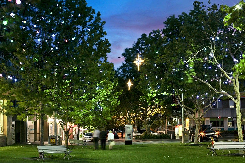 Tree lighting by Limelight at Hornsby Plaza