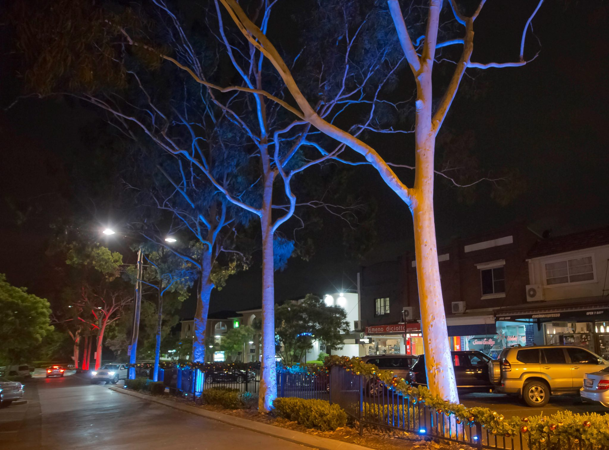 Coloured light display at Majors Bay Road by Limelight Australia