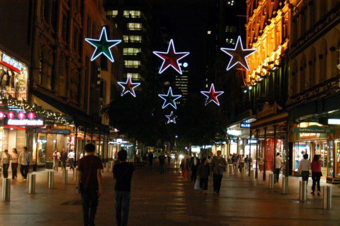 Christmas lighting at Pitt Street Mall Sydney